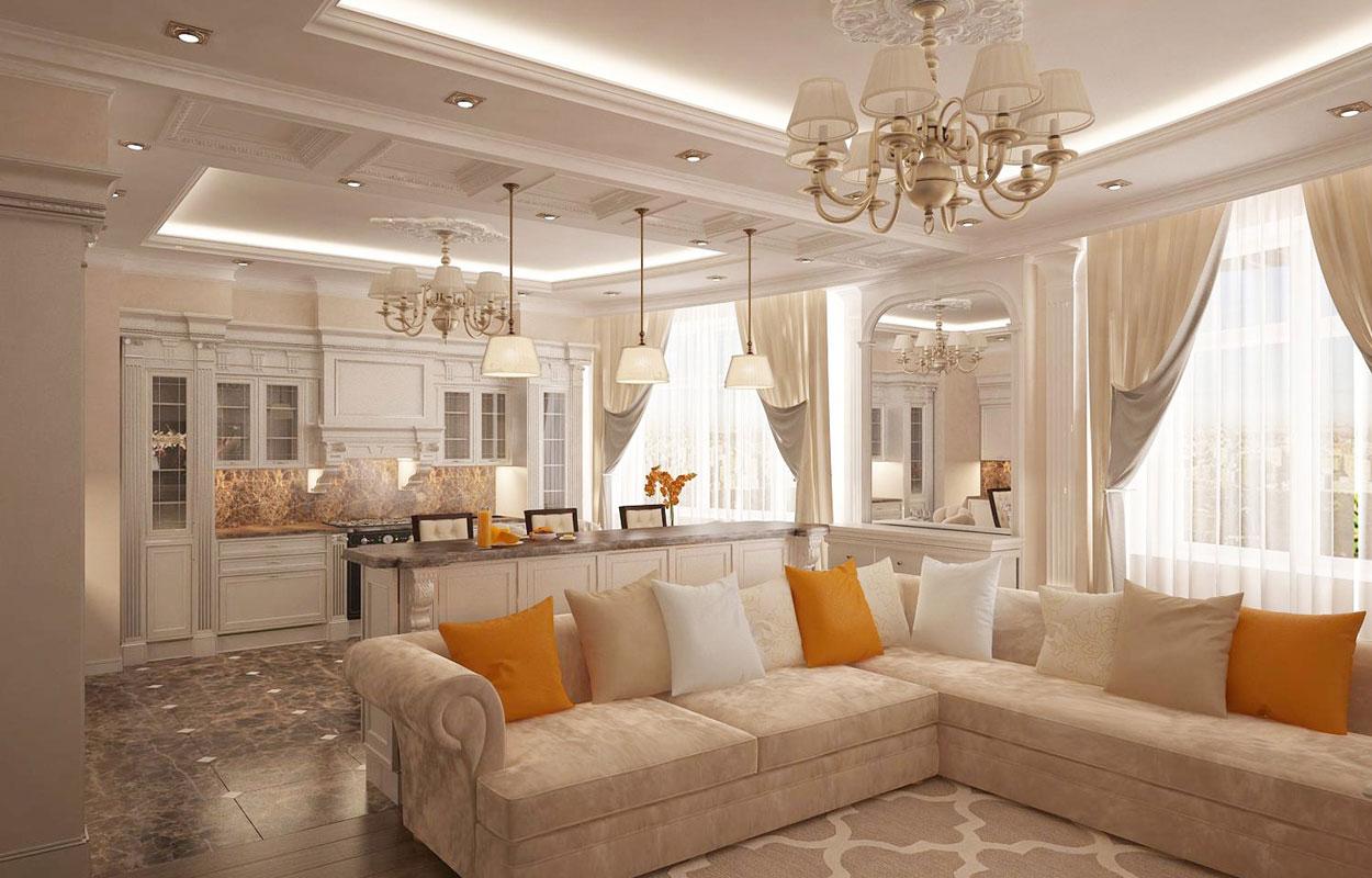 Кухня гостиная в классическом стиле с барной стойкой реальных ремонтов