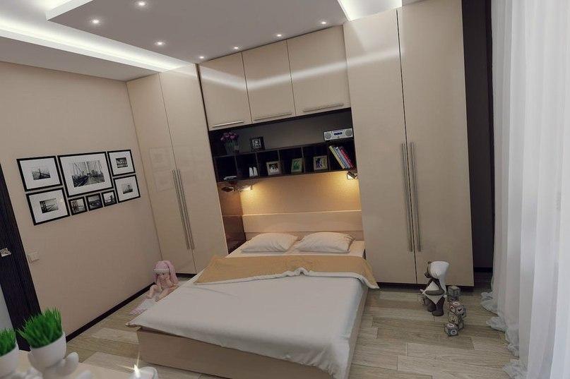 Дизайн спальной комнаты 8 квм с окном