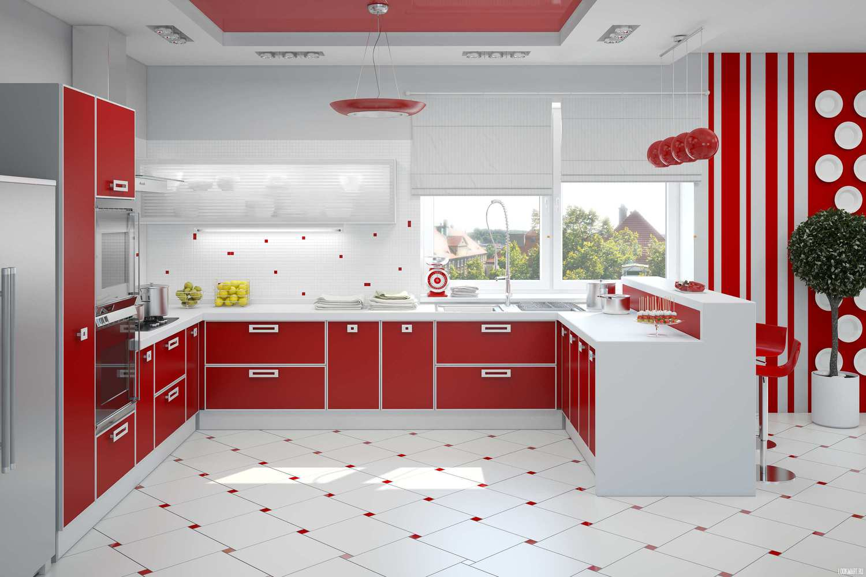 Кухня в красно белом цвете дизайн