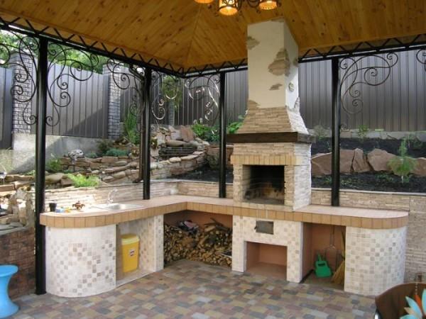 Летняя кухня с камином фото своими руками 92