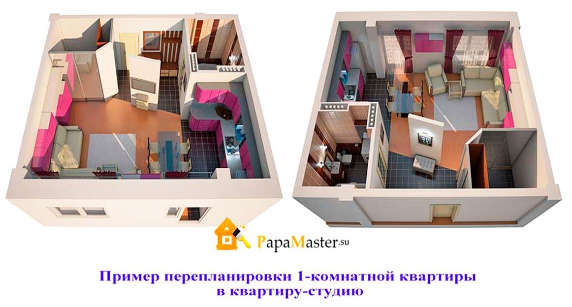 Как сделать перепланировку в однокомнатной квартире своим 880