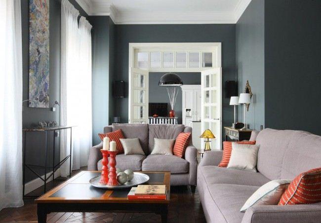 Stilvolles Wohnzimmer In Dunklen Farben