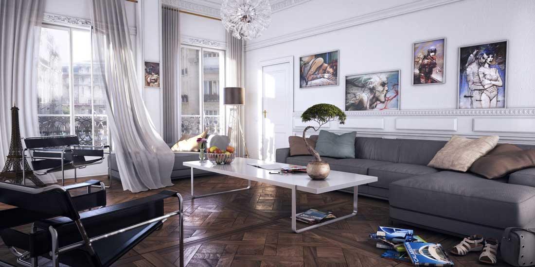Das Wohnzimmer Design Ist 20 Meter Mit Zwei Fenstern