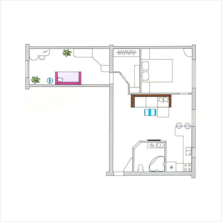 Interessantes Layout von Chruschtschows 2 Zimmern. Ursprüngliche ...