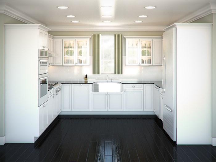 Küche mit eingebautem Kühlschrank. Küche mit eingebautem Kühlschrank ...