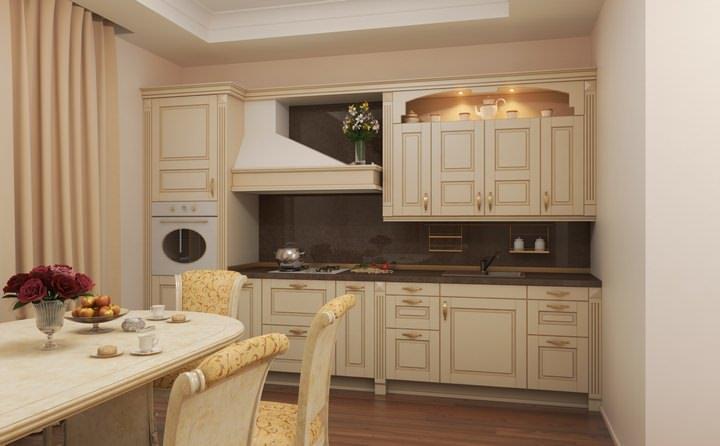 Innenraum der klassischen Küche in der Dunkelheit. Klassische Küche
