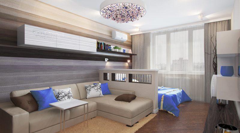 Ремонт гостиной совмещенной со спальней