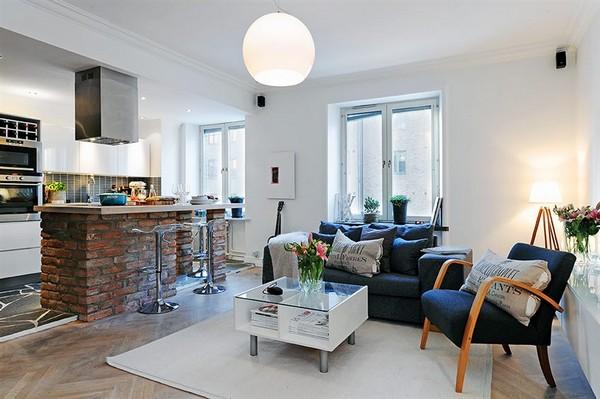 Kleines Wohnzimmer mit Küche kombiniert. Kleines Küchen-Wohnzimmer ...