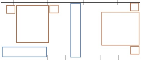 Das Folgende Diagramm Zeigt Zwei Möglichkeiten, Um Ein Standardmöbelset In  Einem Kleinen Schlafzimmer Anzuordnen. Wenn Sie Kein Speichersystem  Benötigen, ...