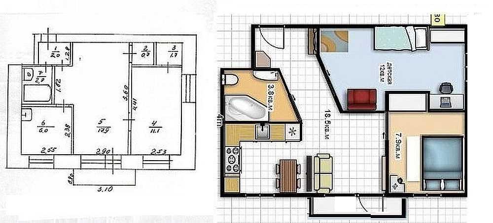 Планування хрущовки 2 кімнати з розмірами. дизайн хрущовки -.