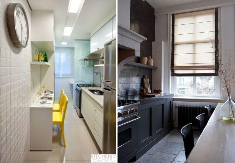 Маленька вузька кухня. підбір дизайну маленької вузької пере.